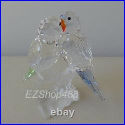 Swarovski Crystal Figurine #680627 Budgies Pair of Parrot Bird RARE New in Box