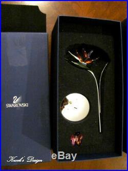Swarovski Crystal Figurine Paradise Bird flower & Rose Butterfly Box/Booklet CT