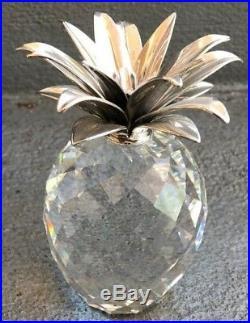 Swarovski Crystal Figurine Pineapple With Silvertone Hammered Leaves 4 1/3 Tall