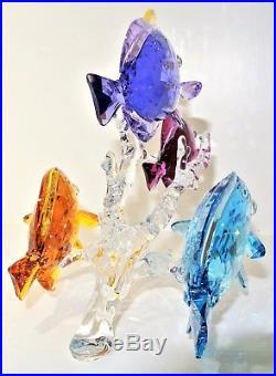 Swarovski Crystal Figurine Rainbow Fish Family on Coral Reef 5223195