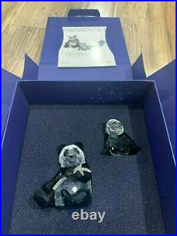 Swarovski Crystal Figurine SCS Pandas Mother And Baby Black And White MIB WithCOA
