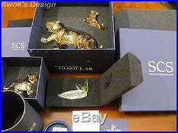 Swarovski Crystal Figurine SCS Tiger Family 3 Pcs. Set & Green Plaque BOX/COA
