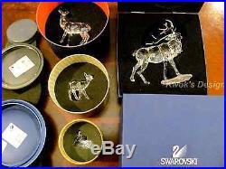 Swarovski crystal figurine stag doe deer reindeer fawns - Swarovski stag figurine ...