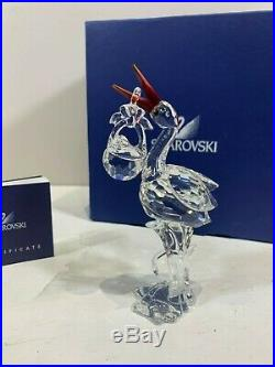 Swarovski Crystal Figurine Stork With Baby 7644 000 000 / 659401 MIB WithCOA