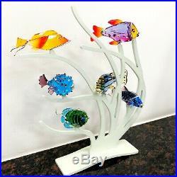 Swarovski Crystal Fish Figurine Coral Display With 6 Swarovski Figurines
