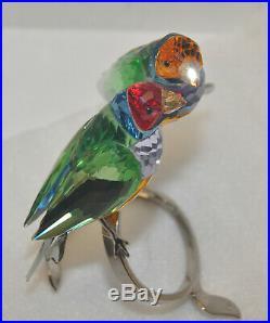 Swarovski Crystal Gouldian Finches Peridot Figurine #1141675 MINT