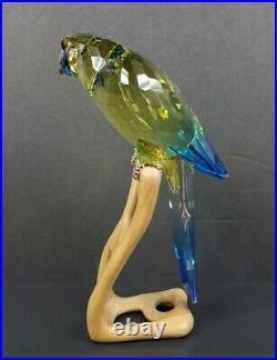 Swarovski Crystal Green Rosella, Jonquil Parrot Bird Figurine #901601 Orig Box