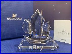 Swarovski Crystal Mint Figurine Chinese Sailing Junk Boat Clear 5035898 MIB WithCA