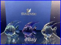 Swarovski Crystal Mint Figurine Fish Set of 3 9400 000 267 / 1043243 MIB WithCOA