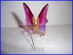 Swarovski Crystal Paradise Astara Fuchsia Butterfly Brooch Retired 250490 Mib