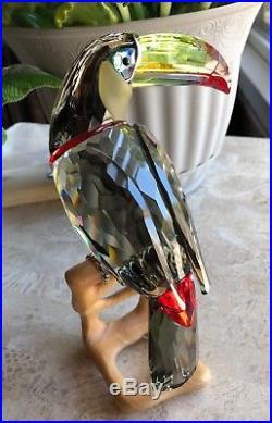 Swarovski Crystal Paradise Birds Toucan Black Diamond Retired Large