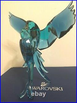 Swarovski Crystal Paradise Blue Pair Of Parrots 5136775 Intact Has Box &coa