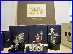 Swarovski Disney 7 Pc Set Winnie Pooh Eeyore Tigger Piglet Plaque Display Litho