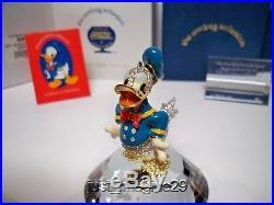 Swarovski Disney Arribas Jeweled Donald Duck & Title Plaque & Display Bnib