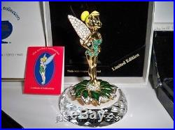 Swarovski Disney Arribas Jeweled Tinkerbell With Title Plaque & Display Bnib