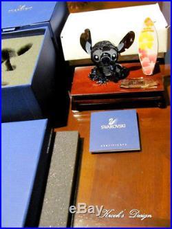 Swarovski Disney Crystal Figurine Stitch Limited Edition /Plaque/Surfb. /W. Stand