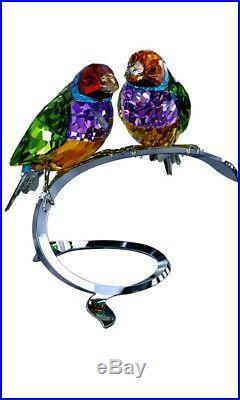 Swarovski Gouldian Finches Figurine 1141675 Crystal Birds Peridot Gift Nib