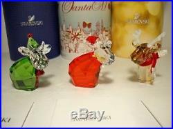 Swarovski Lovlots 3 Pc Mo Cow Set Santa Mo Reindeer Mo & Santa's Helper Mo Bnib
