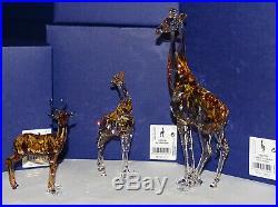 Swarovski SCS SET 2018 Giraffe Mudiwa & Baby Giraffe & Gazelle NEW IN BOXES COA