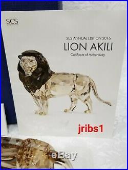 Swarovski SIGNED SCS LION AKILI & LION MOTHER 5135894 5135895 CRYSTAL FIGURINE