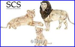 Swarovski Scs 2016 Ae Akili Lion Mother Lion & Lion Cub + Paperweight & Pin Bnib