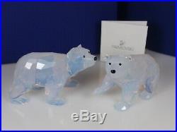 Swarovski Scs Polar Bear Cubs 2011, White Opal Mib #1080774