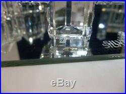Swarovski Silver Crystal CITY Figurines With Display Mirror 9 Pieces