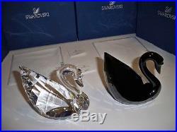 Swarovski Soulmates Set Large Clear & Jet Crystal Swan 1075309 & 1098643 Bnib