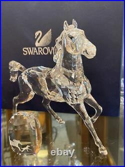 Swarovski Swan Signed Large Crystal Horse With Paperweight