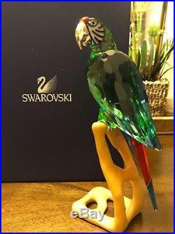 Swarovski crystal figurines Retired SCS Chrome Green Macaw