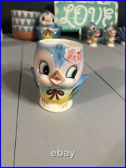 VINTAGE 1950s SIGNED GEO Z LEFTON 284 BLUEBIRD BLUE BIRD CHILDS DISH CUP MUG