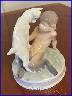 Vintage 1950's ROYAL COPENHAGEN #498 Faun with Goat Porcelain Figurine Pan/Satyr