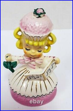 Vintage Enesco Sweet Shoppe Cupcake Candy Pink Dress Girl Flower and Music Book