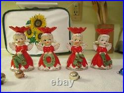 Vintage Japan Napco Set Of Ceramic Noel Poinsettia Girl Angel Candel Holders