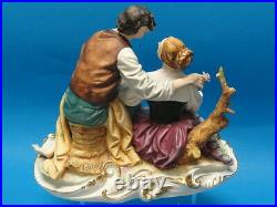 Vintage Large Elaborate Pucci Capodimonte Figurine Lovers Italy 11