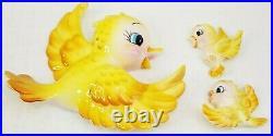 Vintage Lefton Anthropomorphic Yellow Bird Wall Plaque Family Set of 3