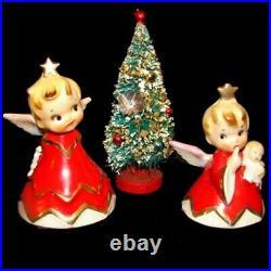 Vintage Lefton Christmas Girl Angel Bell Figurines w Bottle Brush Tree
