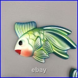 Vintage Miller Studio Chalkware MCM 1971 Blue Green Fish Bathroom Wall Plaques