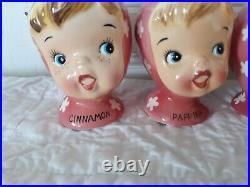 Vintage NAPCO Miss Cutie Pie Spice Shakers Pink Set Of 4 1950's A3512/Pl