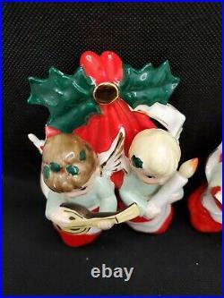 Vintage Napco Christmas Musical Angels In Stockings Wall Hanging Pair Japan