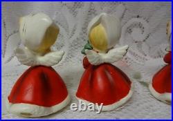 Vintage Set of 4 pc Napco 50's Japan Christmas Girls & Lady Figurines Porcelain