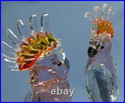 Vintage Swarovski Crystal Pink Cockatoos 5384012 Signed Wattens'77 Mint