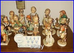 Vintage lot of 22 Hummel porcelain figurines. Goebel W. Germany