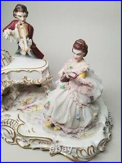 Volkstedt Dresden German Victorian Piano Musical 12 Figural Group Figurine