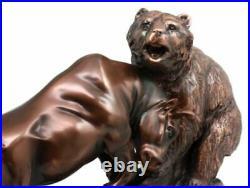 Wall Street Stock Market Charging Bull Goring Bear Bronze Electroplated Figurine