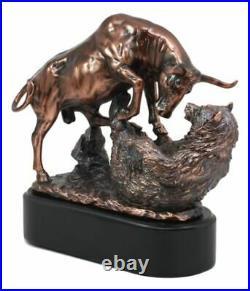 Wall Street Stock Market Charging Bull Trouncing Bear Statue With Pedestal Base