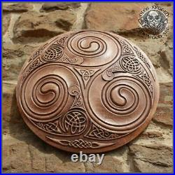 Wood Carving Art Wall Hanging Decor Wood Celtic Handmade Viking Trisquel Asatru