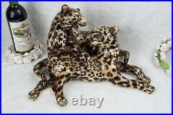 XL Italian mid century 1960 ronzan porcelain Panther leopard Group statue